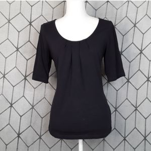 LANDS' END Navy Ruched Scoop Half Sleeve Top